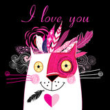 Vector in love cat. Vector bright holiday card with enamored cat Stock Photo