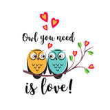 Vector love couple owls with hearts on a tree branch. An insulated design white background for Valentine s day Royalty Free Stock Images