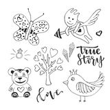 Vector love day set of cute doodle sketch design elements. Cupid, bird, butterfly and love tree vector hand drawn Stock Photography