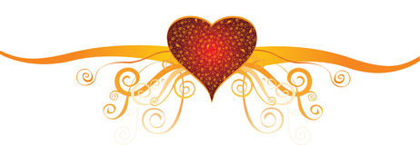 Vector love design. Heart and love design with curly lines Royalty Free Stock Photo