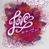 Vector love doodles watercolor paint card design Royalty Free Stock Images