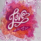 Vector love doodles watercolor paint card design Stock Photography