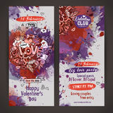 Vector love doodles watercolor paint party flyer Royalty Free Stock Photos