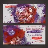 Vector love doodles watercolor paint party flyer Stock Image