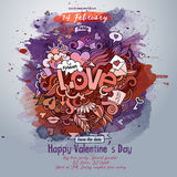 Vector love doodles watercolor poster design Royalty Free Stock Image