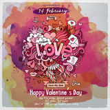 Vector love doodles watercolor poster design Royalty Free Stock Photography