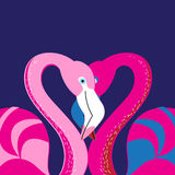 Vector in love with a flamingo Stock Image