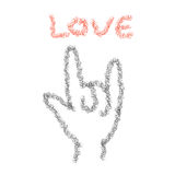 Vector : Love hand sign in doodle pencil brush style, love conce Stock Photography
