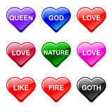 Vector love heart button icons, genre. Vector love button shop icon, heart shape, in genre versions Stock Image