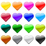 Vector love heart button icons, samples. Vector love button shop icon, heart shape, many color versions Stock Photos