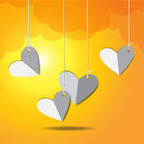 Vector Love Heart hanging. And sunset background Royalty Free Stock Photo