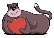 Vector love heart-hugging cat Stock Photo