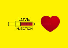Vector Love Heart Injection with Syringe Royalty Free Stock Images