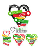 Vector love heart linear style icons, 3d cut out relief with sticker - button. S. Social banner elements. Can be used as social like theme infographics, parts Royalty Free Stock Photo