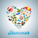 Vector Love Heart Summer Holiday Design Set On Wav Royalty Free Stock Photography