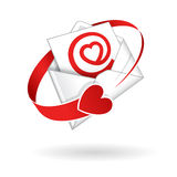 Vector Love mail open letter illustration. Open envelope with red love heart inside an AT-sign symbol illustration isolated on white with a red heart cyrcling Stock Photo