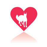 Vector love my pets. Vectorial illustration with a heart and a dog and a cat inside it as silhouettes Royalty Free Stock Image