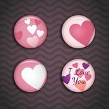 Vector love pins on the dark background with waves Stock Photography