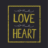 Vector love quote, lettering on black backround Stock Photos