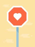 Vector love road sign Royalty Free Stock Images