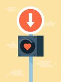 Vector love road signs,. Concept illustration Stock Photos
