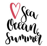 Vector Love sea, ocean, summer lettering. Hand drawn text calligraphy card isolated on white background. For design or Stock Images