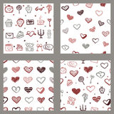 Vector Love Seamless Patterns Set Stock Photos
