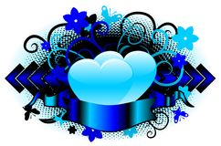 Vector love shield (blue) Stock Photos