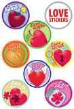 Vector love stikers colorful set different hearts. For design cards, wedding or party favors Royalty Free Stock Photo