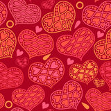 Vector love and Valentines Day seamless pattern with hearts on r Royalty Free Stock Photography