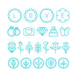 Vector love and wedding linear icons Royalty Free Stock Photos