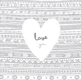 Vector Love You card with white heart on ethnic tribal style orn Royalty Free Stock Photography