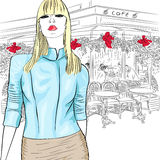 Vector lovely fashion girl on the background of Pa Royalty Free Stock Images