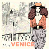 Vector lovely fashion girl on a Venice background Stock Photography