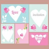 Vector lovely postcard with birds Royalty Free Stock Image
