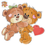 Vector loving brown teddy bear hides behind his back a valentine, and his girlfriend hugs him by the neck Royalty Free Stock Images