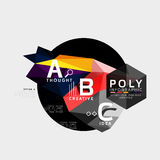 Vector low poly abstract infographics. Vector polygonal background with A B C options created with triangles for workflow layout, diagram, number options or Royalty Free Stock Photos
