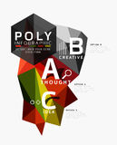 Vector low poly abstract infographics. Vector polygonal background with A B C options created with triangles for workflow layout, diagram, number options or Royalty Free Stock Images