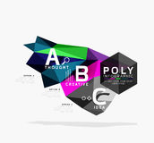 Vector low poly abstract infographics. Vector polygonal background with A B C options created with triangles for workflow layout, diagram, number options or Royalty Free Stock Photography