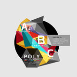 Vector low poly abstract infographics. Vector polygonal background with A B C options created with triangles for workflow layout, diagram, number options or Stock Image
