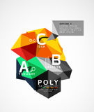 Vector low poly abstract infographics. Vector polygonal background with A B C options created with triangles for workflow layout, diagram, number options or Stock Photos