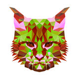 Vector low poly abstract portrait of a motley cat. Symmetrical portraits of animals. Vector Illustration, card, poster Royalty Free Stock Photo