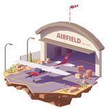 Vector low poly airfield with hangar and airplane Royalty Free Stock Image