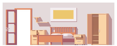 Vector low poly bedroom Stock Photo