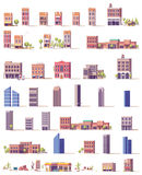 Vector low poly buildings set Stock Images