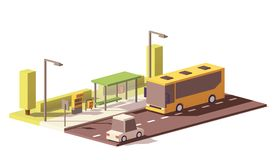Vector low poly bus and the bus stop vector illustration