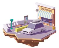 Vector low poly car on the viewpoint stock illustration