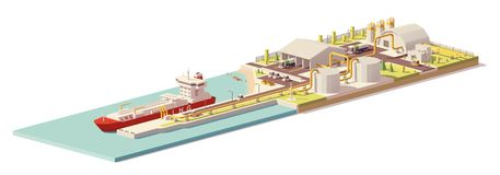 Vector low poly LNG terminal and LNG carrier ship Stock Images