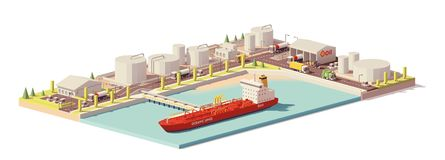 Vector low poly oil depot and oil tanker ship. Vector low poly cargo port oil depot with tanker ship Royalty Free Stock Photography