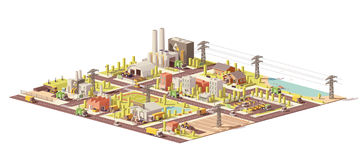 Vector low poly city waste management. Infrastructure. Includes collection, separation, landfill gas collection and recycling facilities Royalty Free Stock Image